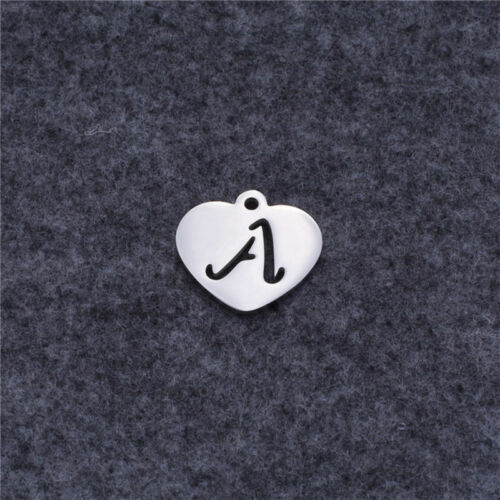 Alphabet Charms Pendant Heart Shape DIY Necklace Stainless Steel Jewelry Making