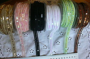 Sequin-Centred-Elastic-Nylon-Ribbon-13mm-Wide-2-Metres-6-Colours-Choice-AR12
