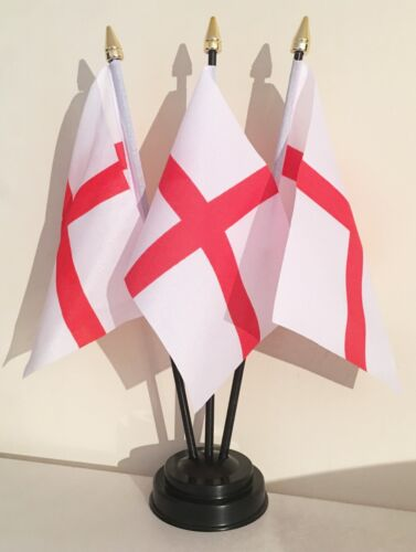 ST GEORGE ENGLAND TABLE FLAG SET of 3 flags and base