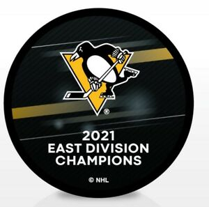 2021 NHL STANLEY CUP PLAYOFFS PUCK PENGUINS EAST DIVISION CHAMPS W/PARTICIPANTS