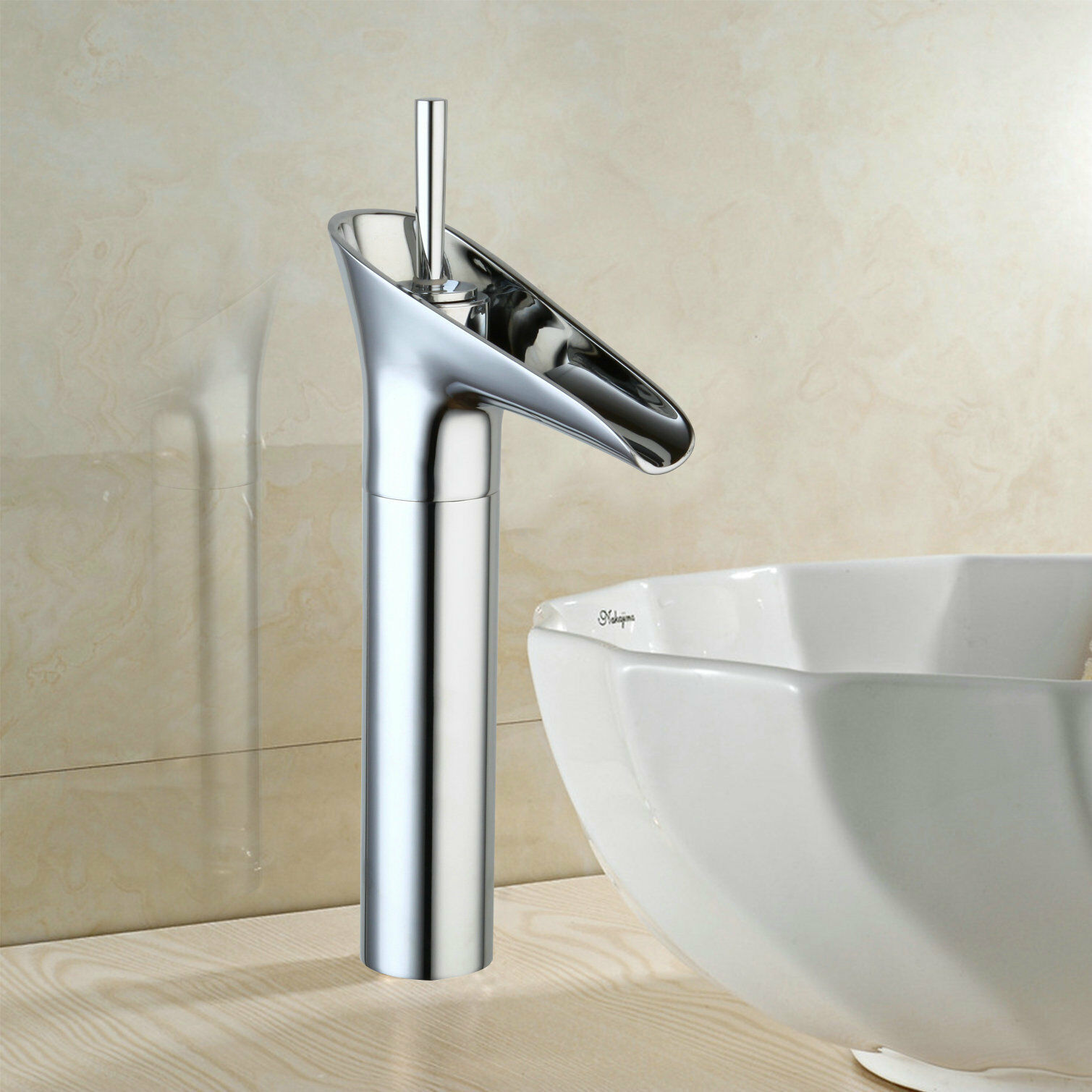 Chrome Bathroom Basin Sink Faucet Single Lever Hot & Cold Waterfall Mixer Taps