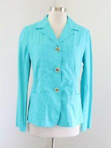 NWT Talbots Turquoise Blue Gracie Fit Cotton Blazer Jacket Size 8 Utility