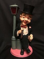 Vintage Drunk Cigar Man Dust Bin with Lamp Post Battery Operated Tin Toy