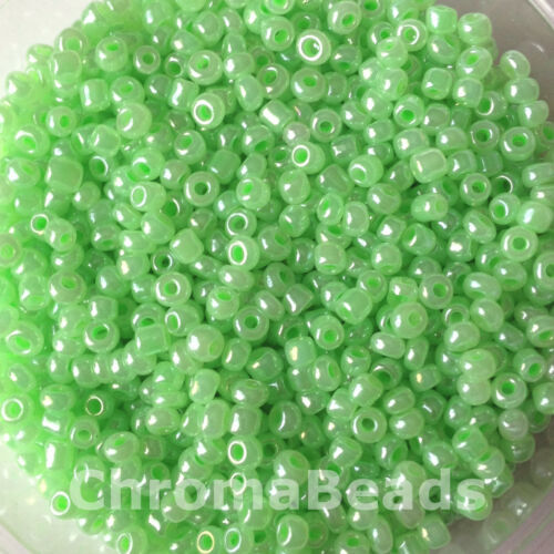 Apple Green Ceylon size 8//0 approx 3mm 50g glass seed beads