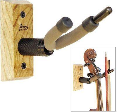 String Swing Violin/Viola Hanger with Oak Hardwood Base