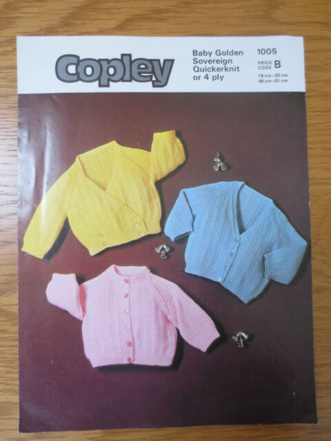 VINTAGE Knitting Pattern 1980s Baby Cardigans 3 styles 18- 20 ins 4 Ply COPLEY