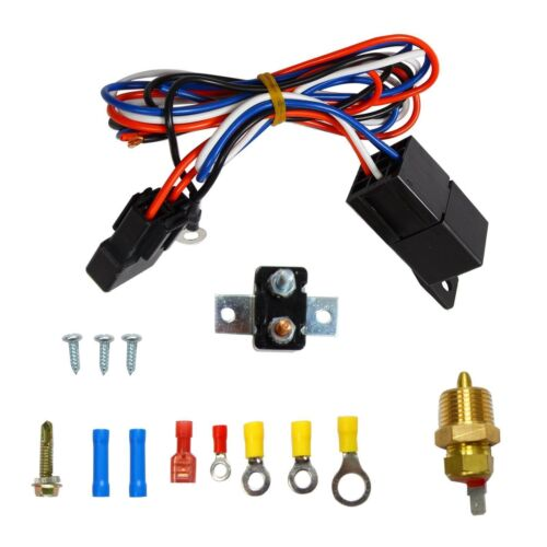 """10/"""" Electric Cooling Radiator Fan 3//8/"""" Probe Ground Thermostat Switch Kit Black"""