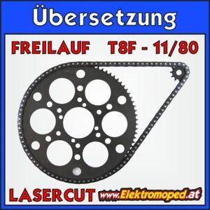 Ersatzteil E-Scooter 11/80 T8F Übersetzung mit Ritzel Laser Kettenrad Freilauf