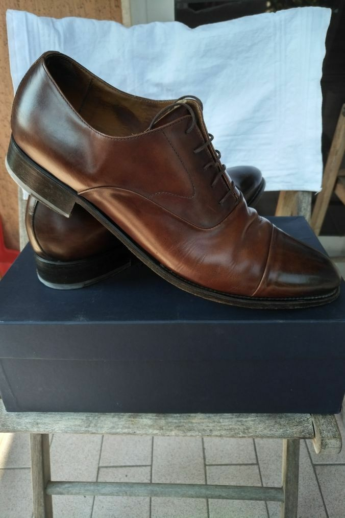 CAMPANILE LEATHER BROWN SANTONI STYLE SHOES! ITALY 100% PELLE MADE IN ITALY SHOES! WITH BOX! 951a86