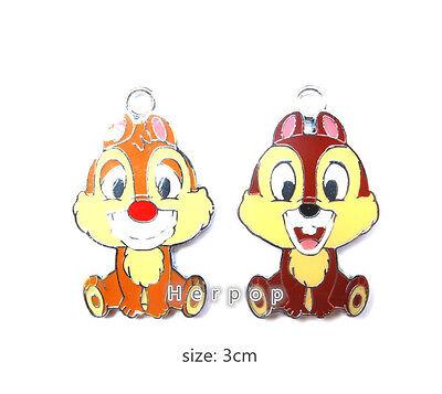 Lot 2color cartoon squirrel chipmunk Metal Charms Pendants DIY Jewellery Making