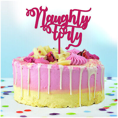 Magnificent Naughty Forty 40Th Birthday Cake Topper For Her Women Glitter Personalised Birthday Cards Paralily Jamesorg