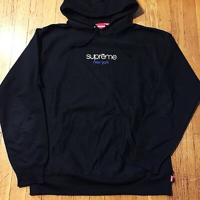 SUPREME CLASSIC LOGO EMBROIDERED HOODED SWEATSHIRT HOODIE RARE vintage box logo | eBay