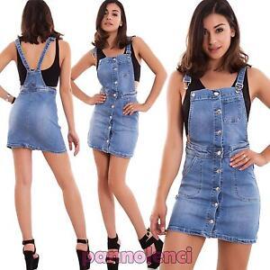 5f390930e43e Caricamento dell immagine in corso Vestito-donna-jeans -overall-tutina-skinny-bottoni-miniabito-