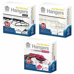 50-200-Pack-Black-Pink-Beige-Non-Slip-Velvet-Coat-Clothes-Trousers-Bar-Hangers