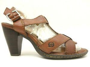 Born-Brown-Leather-Adjustable-Buckle-Open-Toe-Block-Heels-Shoes-Women-039-s-40-5-9