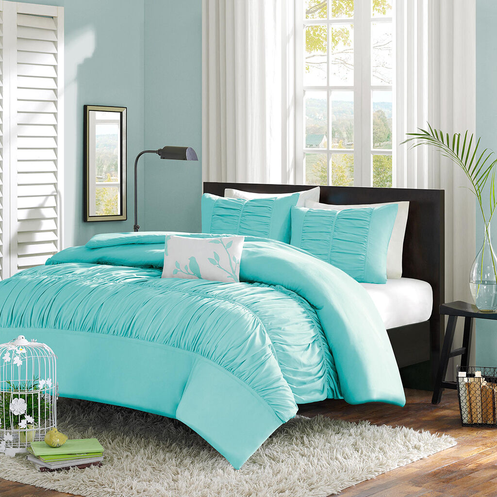 BEAUTIFUL 4 PC SOFT Blau TEAL AQUA RUSHED GIRLS TEXTUrot RUFFLED DUVET COVER SET