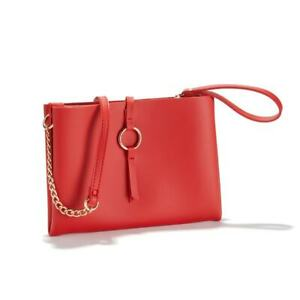 New-Faux-Leather-Handbag-Shoulder-Clutch-Tote-Bag-Red-Free-Postage
