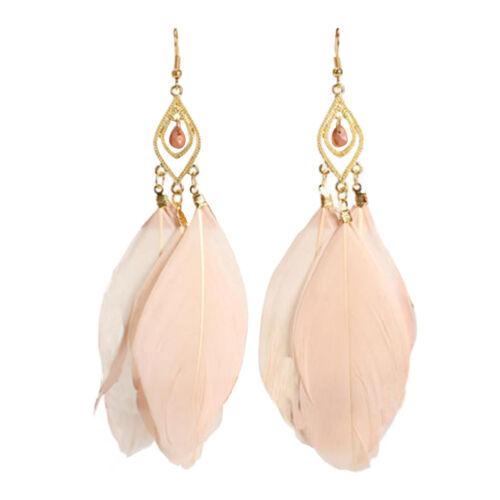 1Pair Womens Feather Ear Drop Dangle Earrings Summer Bohemian Boho Retro Jewelry