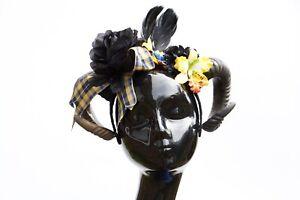 Yellow-Black-Tartan-Bow-Rams-Horn-Festival-Headdress-Headband-Gothic-Halloween