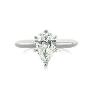 1.00 Ct Pear Cut Moissanite Engagement Ring 14K Bridal Solid White Gold Size 6 7