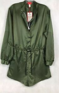 9941152c37c Details about Hunter for Target Women s Zip Front Tie Waist Long Sleeve  Romper Olive Med