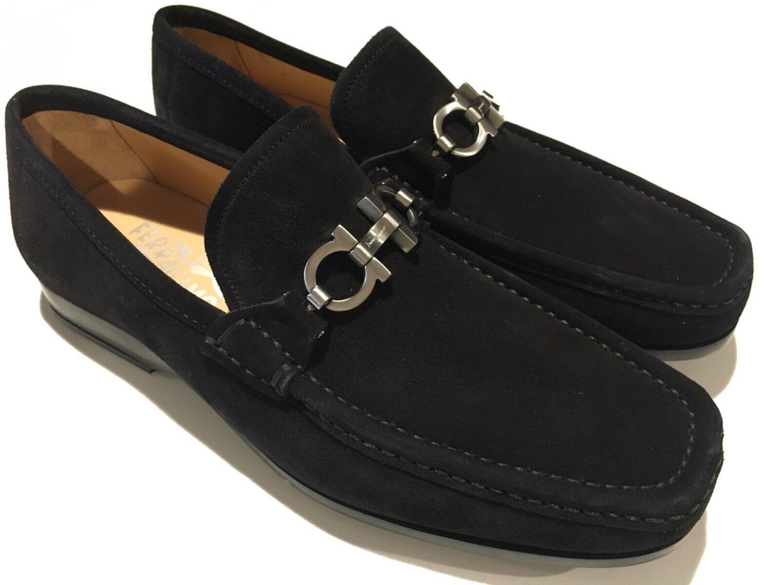 Nouveau SALVATORE FERRAGAMO en daim noir Gancini peu Homme Chaussure 7 UK 8 US