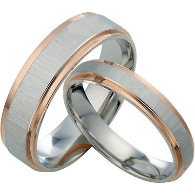 Unisex Rose Gold Scrub Wedding Anniversary Promise Titanium Rings Set 030A3