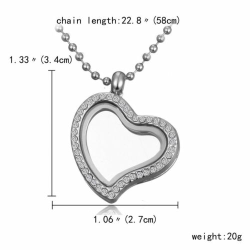Silver Crystal Glass Floating Charms Locket Family Living Memory Necklace Chain