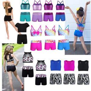 Kid-Girls-Gymnastics-Leotard-GYM-Unitard-2pcs-Ballet-Outfits-Dancewear-Costume