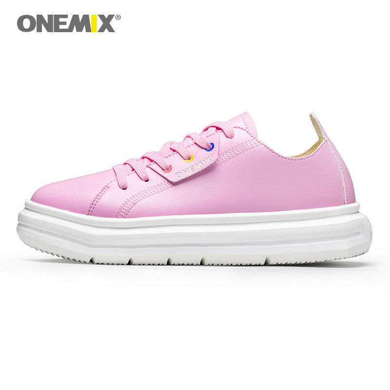 ONEMIX ONEMIX ONEMIX femmes Casual Athletic Walking Leather chaussures Lady Platform Wedge Heel chaussures a4d2bc