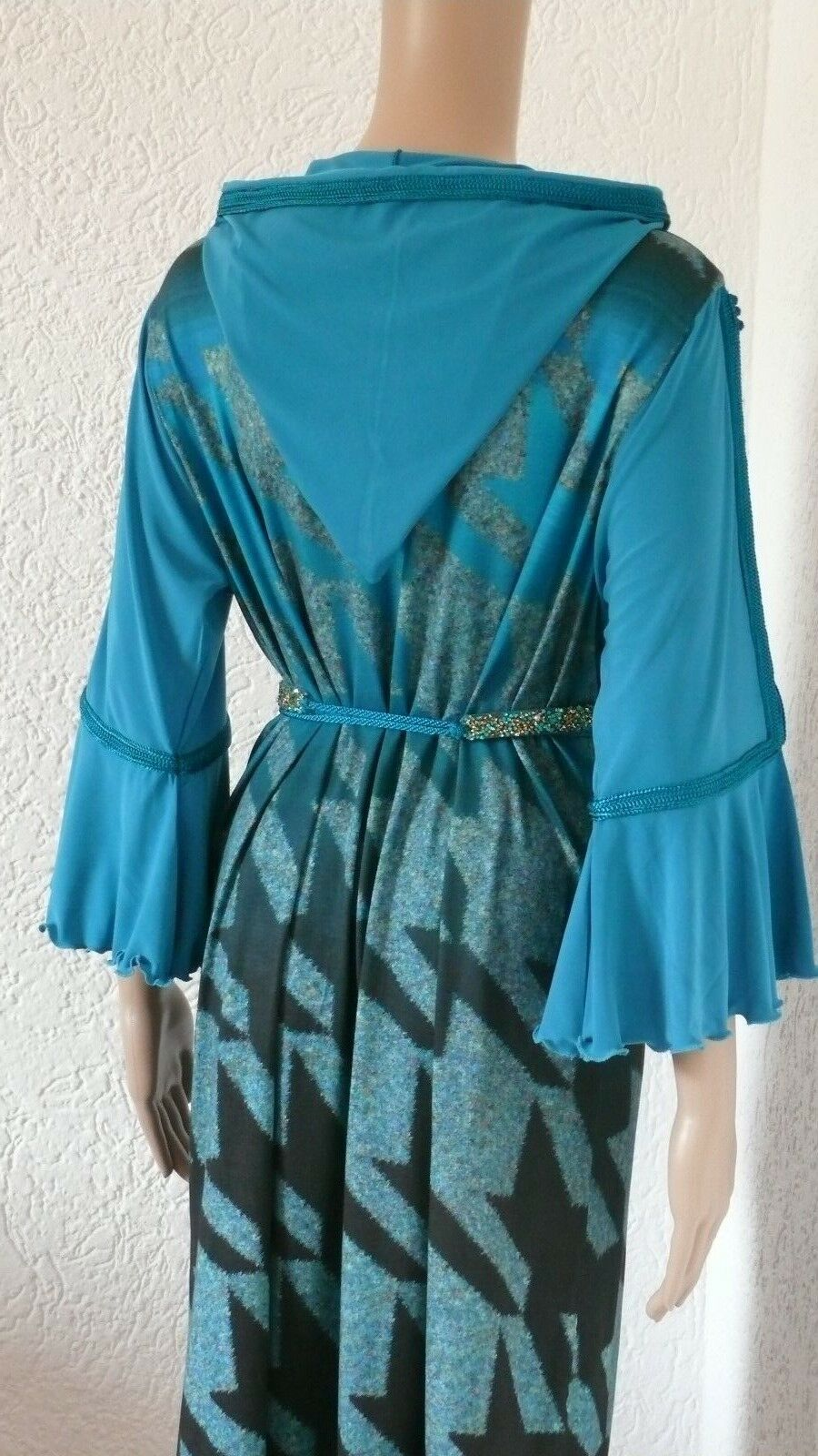 Blau Djellaba Caftan  Kneelang Kleid mit Kapuze Tunika Kaftan mit Gürtel