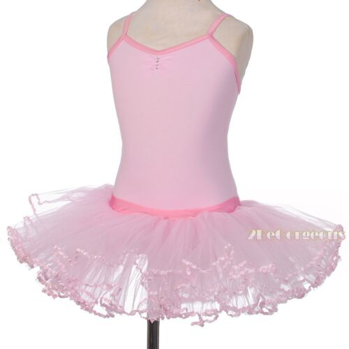 Ribbon Trimmed Ballet Tutu Dance Costume Party Ballerina Dress Pink Sz 3-8y #057