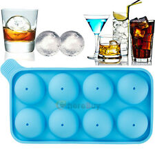 8 Large Sphere Molds Round Silicon Ice Cube Balls Maker Tray Whiskey Cocktails