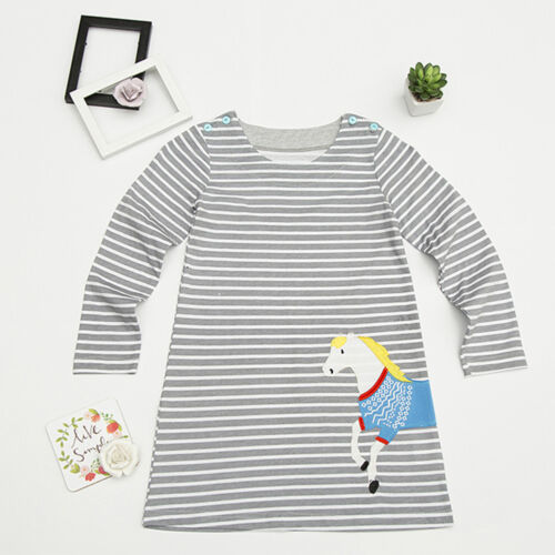 Baby Girls Casual Striped Long Sleeve Top T-Shirt Dress Autumn Winter Clothes