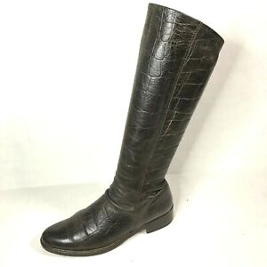 ARCHE LN TALL DISTRESSED BROWN LEATHER BOOTS $495 Crocodile Size 41