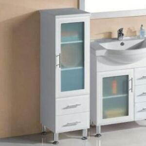 Bathroom glass door and 2 drawers tall boy cabinet 400 400 for Bathroom cabinets tall boy
