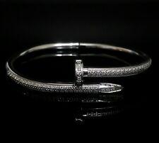 Men Women Silver Stainless Steel Lab Diamond Nail Screw Bangle Bracelet