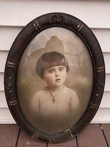 ANTIQUE BUBBLE GLASS VICTORIAN Wooden FRAME Bowl Cut Portrait Kid Cross 🧒 👦