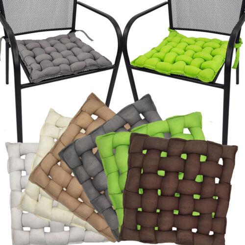 4x Coussins de chaise 40x40 flechtkissen Coussins de siège Coussin Chaise édition avec des bandes