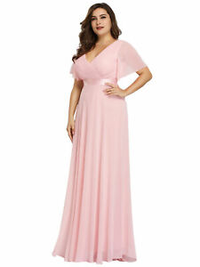 Ever-Pretty US V-neck Pink Chiffon Cocktail Dress Evening Bridesmaid Gowns 09890