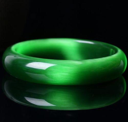 Cat/'s Eye jade cristal Gems Bracelet sculpté à la main magnifique vert lumineux Bracelet
