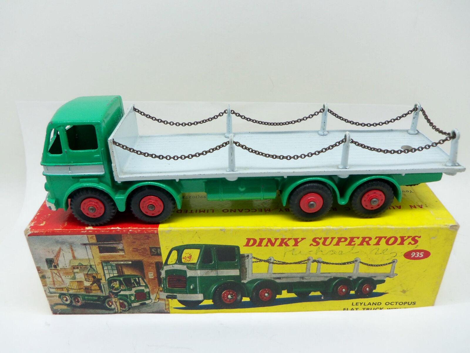 Dinky Toys 935 camión Leyland Pulpo plana con cadenas, en Caja-RARE-no Atlas