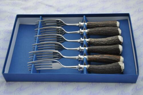 Six Rare Sambar Stag/Antler Handle Steak Forks Silver ferruled Boxed Sheffield