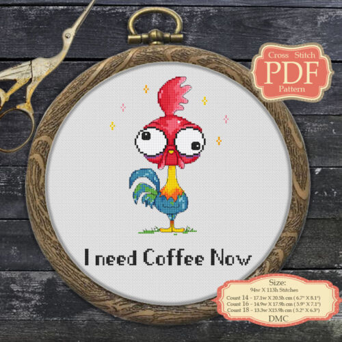 087 Crazy Rooster Coffee Quotes Embroidery Cross stitch PDF Pattern