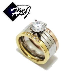 3 Pcs Stainless Steel 155 CT SilverRose GoldGold Engagement