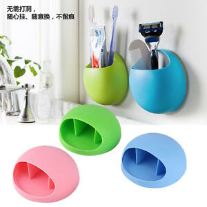 Wall-Mounted-Stand-Suction-Cup-Toothbrush-Holder-Toothpaste-Storage-Rack