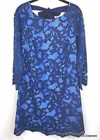 Lilly Pulitzer Aaliyah True Navy Romantic Corded Lace Dress Size 10 Two Toned