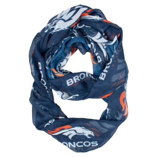 Denver Broncos Infinity Scarf Blue NFL Fashion Women Sheer Neck NEW
