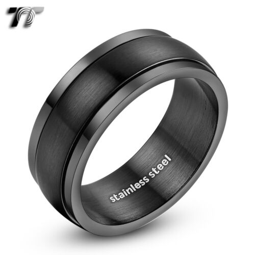 Mens TT 8mm Black Brushed Finished Stainless Steel Spinner Ring Size 6-15 R10D