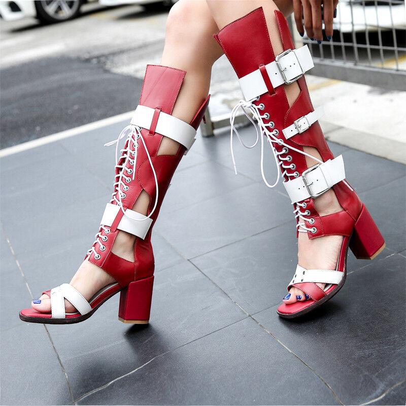 per poco costoso donna Cow Leather Punk Block Knee Knee Knee High Gladiators stivali High Heels Roman Sandal  vieni a scegliere il tuo stile sportivo